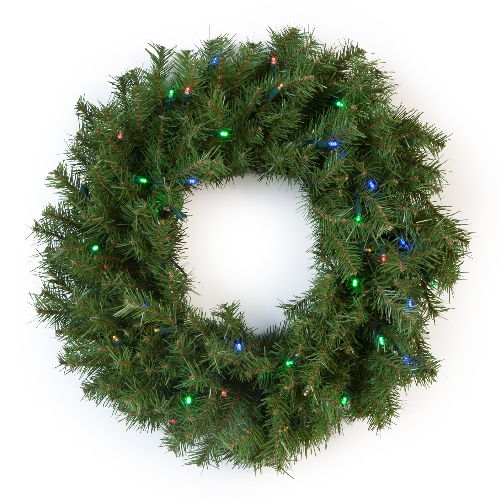 """National Tree 24"""" Norwood Fir Wreath with 50 Multi Battery Operated LED Lights"""