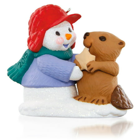 Hallmark Keepsake Ornament: Snow Buddies Snowman and Beaver (Buddies Snowman)