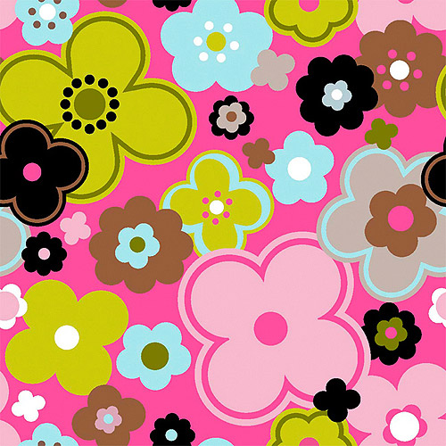 Creative Cuts Cotton Fabric, Roly Poly Flowers Print