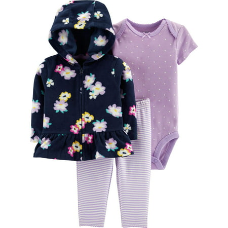 Hooded Peplum Cardigan, Short Sleeve Bodysuit & Pants, 3-Piece Outfit Set (Baby Girls)