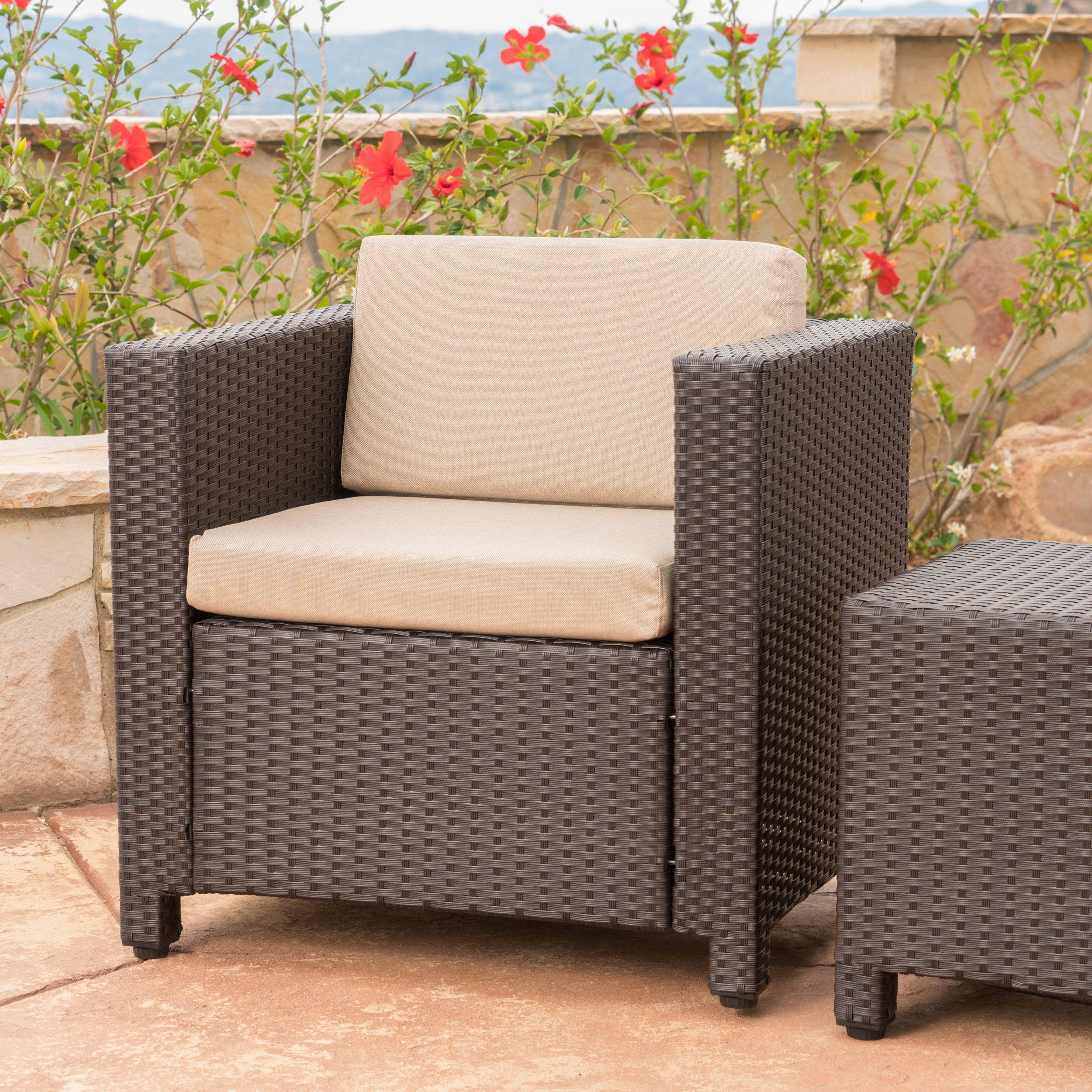 Cascada Outdoor Wicker Club Chair with Cushions, Dark Brown, Beige