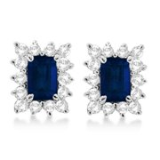 Allurez 14k White Gold Emerald-cut Blue Sapphire & Diamond Stud Earrings (1.80ct)