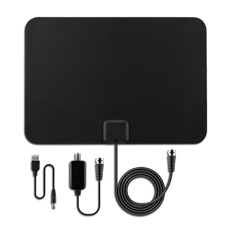 Seneo Digital HD TV Antenna with Detachable Amplifier Indoor Antenna Booster and 10ft Long Cable for Free TV Shows, 50miles Range-Black