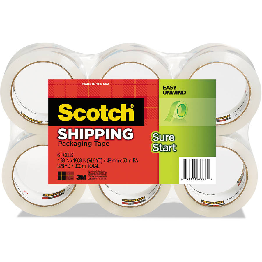 "Scotch 3500 Packaging Tape, 1.88"" x 54.6 yards, 3"" Core, Clear, 6pk"