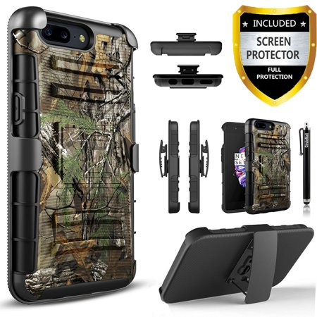 ZTE Tempo X Case, Dual Layers [Combo Holster] Case And Built-In Kickstand Bundled with [Premium Screen Protector] Hybird Shockproof And Circlemalls Stylus Pen (Camo)