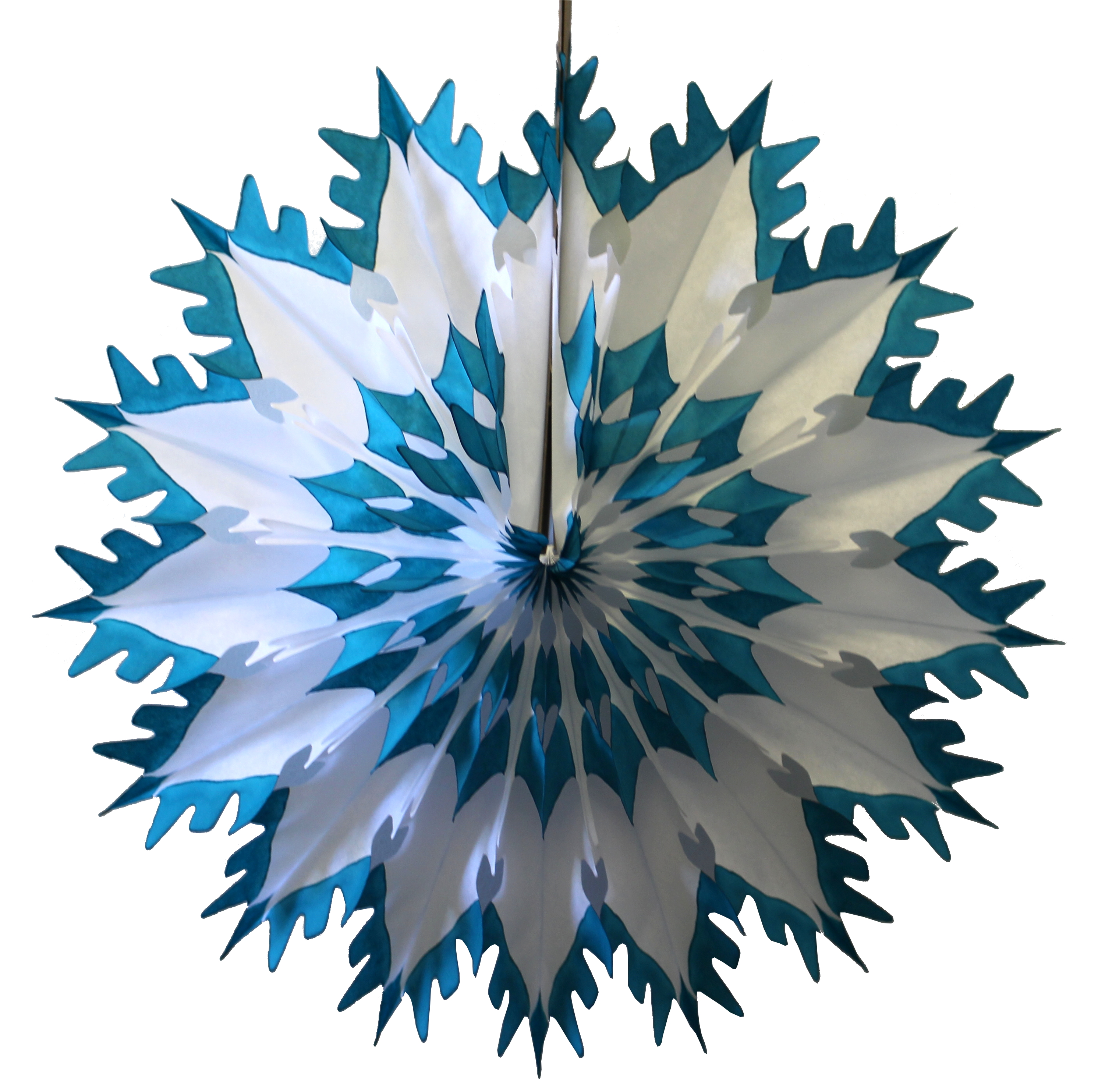 6-Pack Devra Party 19 Inch Tissue Paper Snowflake Decoration, Teal Green Tip