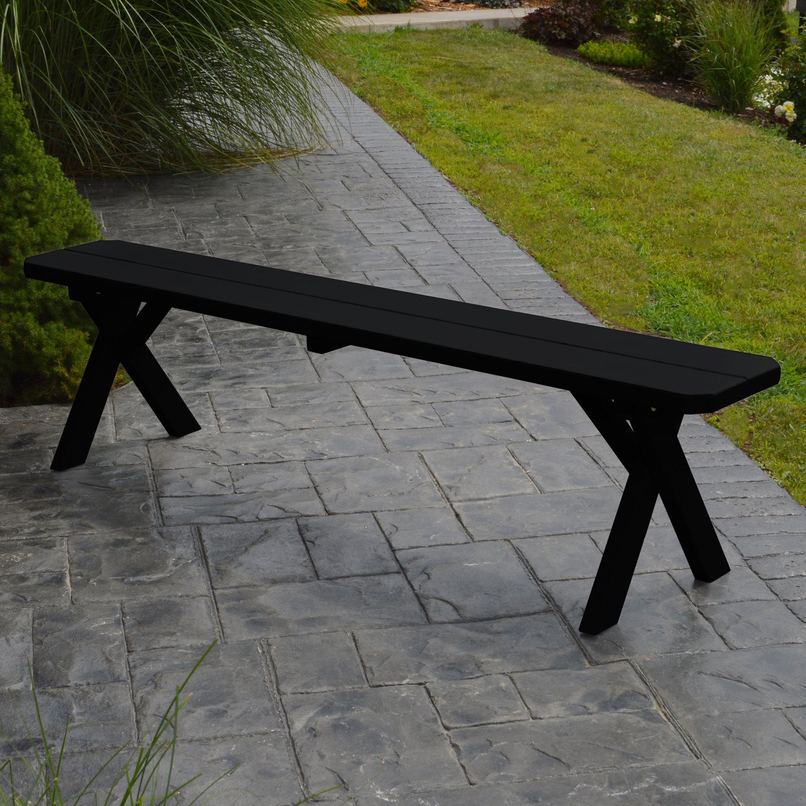 Click here to buy A & L Furniture Yellow Pine Cross Legged Picnic Table with 2 Benches by A and L Furniture Co.
