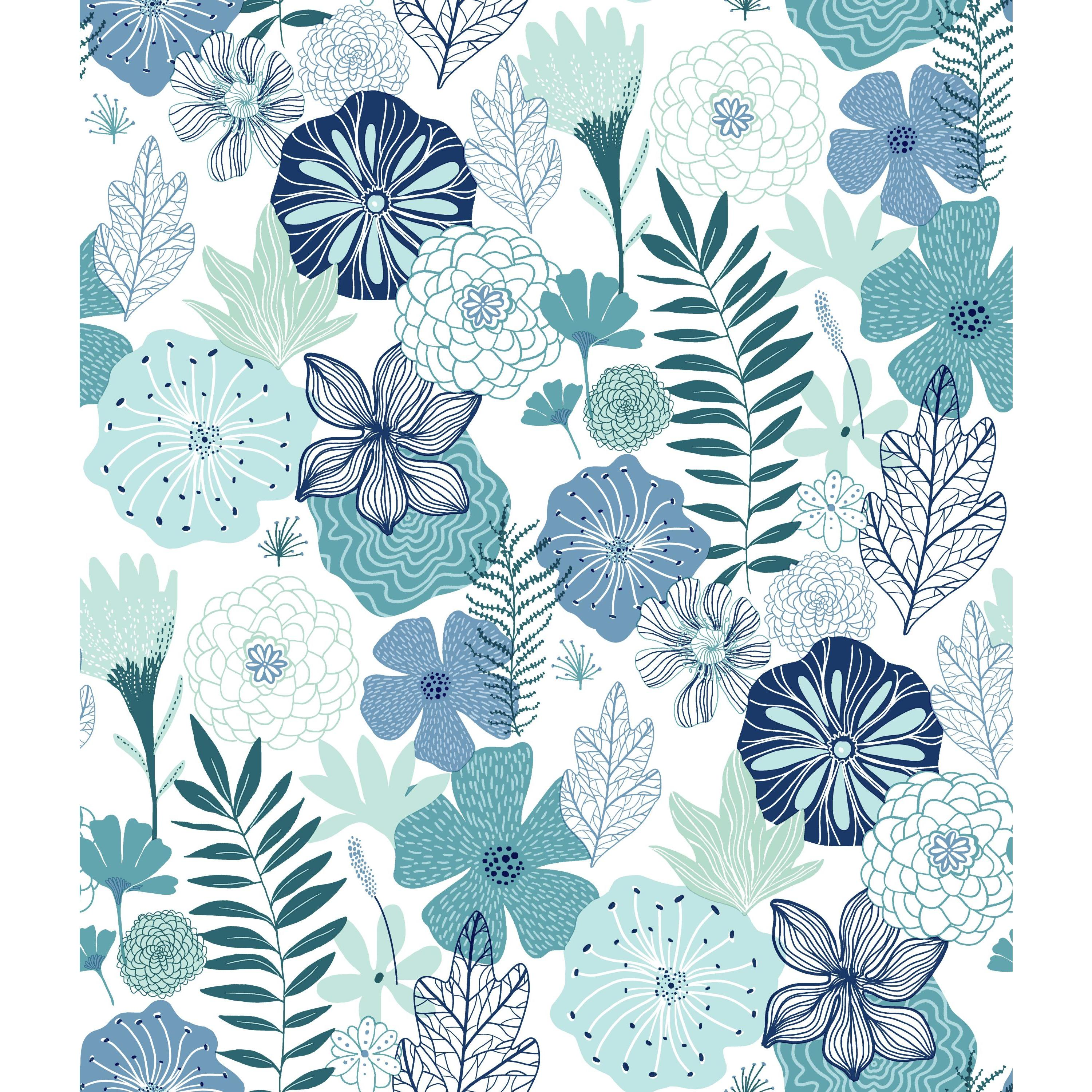 RoomMates Blue Perennial Floral Blooms Peel and Stick ...