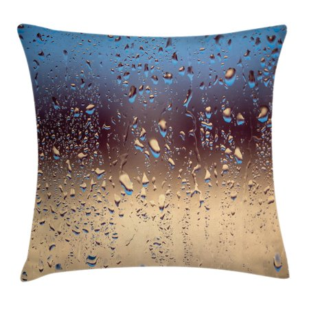 Farmhouse Decor Throw Pillow Cushion Cover, Close Up Rain Drops on Glass Natural Sprays Sphere Azure Picture, Decorative Square Accent Pillow Case, 18 X 18 Inches, Metallic Blue Beige, by Ambesonne