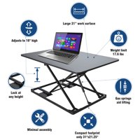 Conquer Compact Standing Desk Height Adjustable Monitor Riser Gas Spring Tabletop Sit to Stand Workstation