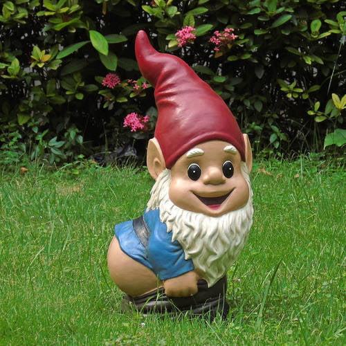 Garden Gnomes With Guns mooning garden gnome, multi-color - walmart