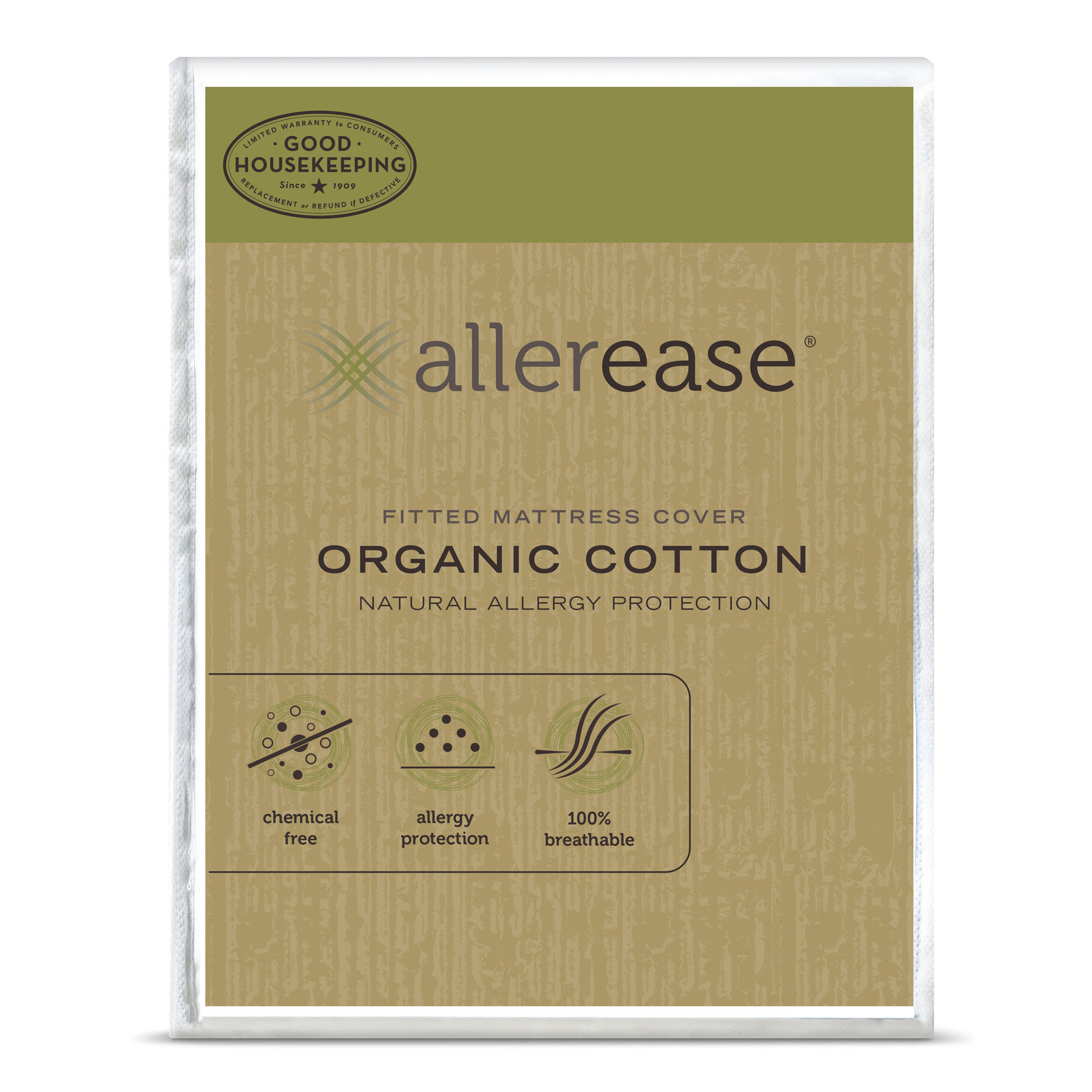 AllerEase Organic Cotton Cover Allergy Protection Mattress Cover, Twin