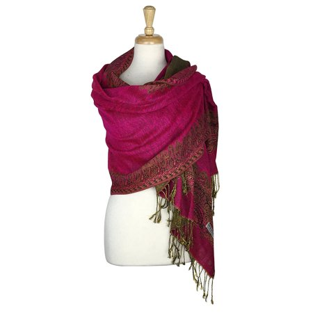 Paskmlna® Border Pattern Double Layered Reversible Woven Pashmina Shawl Scarf Wrap Stole (Double Layer Scarf)
