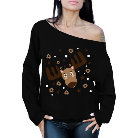 d2021e79c53 Awkward Styles Off Shoulder Christmas Deer Sweatshirt Funny Xmas Sweaters  for Women Reindeer Ugly Christmas Sweater Oversized Christmas Gifts for Her  ...