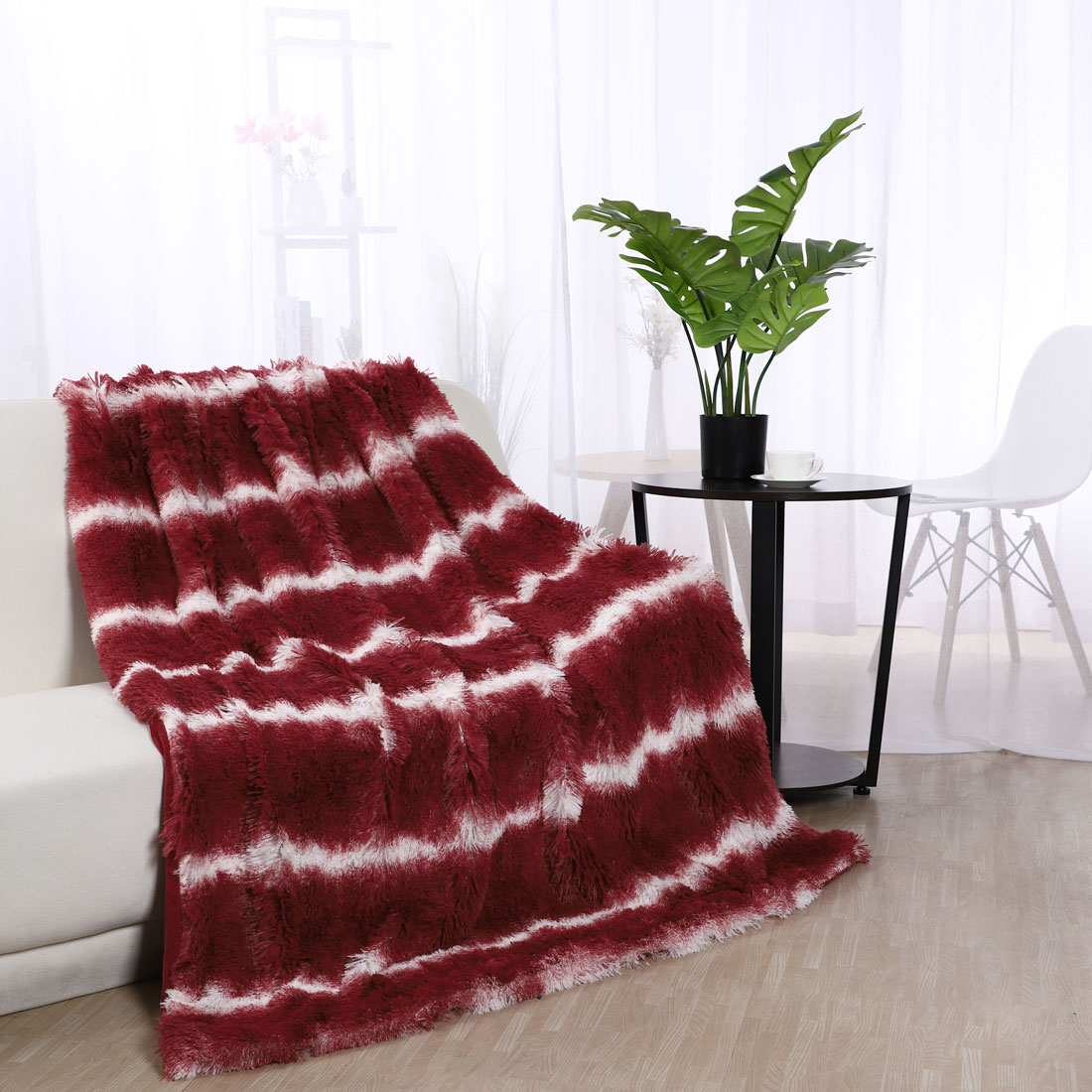 """Reversible Lightweight Soft Faux Fur Twin Size Blanket with Fleece Reverse for Couch and Bed,Dark Pink 60"""" x 78"""""""