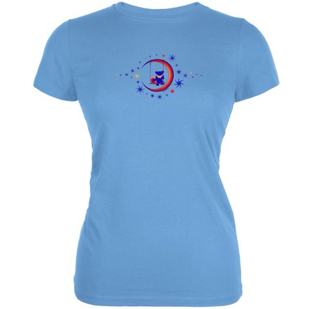 Grateful Dead   Moon Swing Light Blue Juniors T Shirt