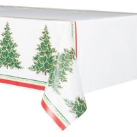 Classic Christmas Tree Plastic Party Tablecloth, 84 x 54in