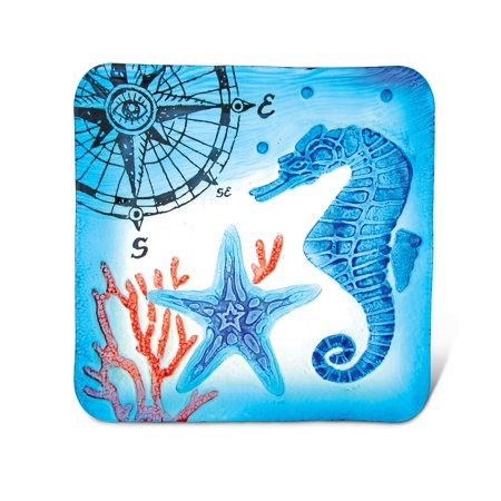 Glass Décor - 12 Inch Blue Square Plate - Seahorse (12 Inch Glass Square Plate)