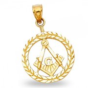 Solid 14k Yellow Gold Freemason Masonic Medal Pendant Charm Diamond Cut Polished Quality 16 x 16 mm