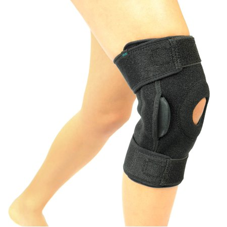 Vive Hinged Knee Brace - Adjustable Open Patella Support for Swollen ACL, Tendon, Ligament and Meniscus Injuries - Athletic Compression Wrap for Running, Wrestling, Arthritic Joint (Single,