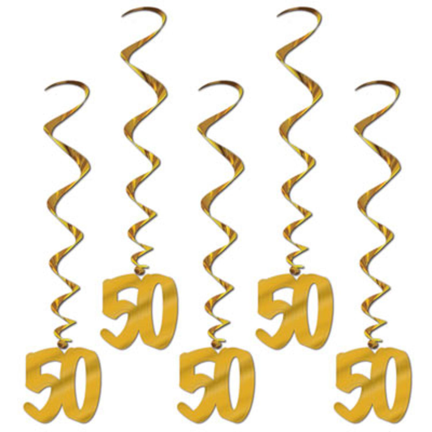 Pack of 30 Gold 50th Wedding Anniversary Hanging Party Decoration Whirls 36""