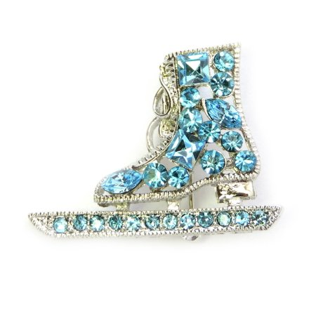 Faship Gorgeous Aqua Light Blue Crystal  Skating Shoe Pin