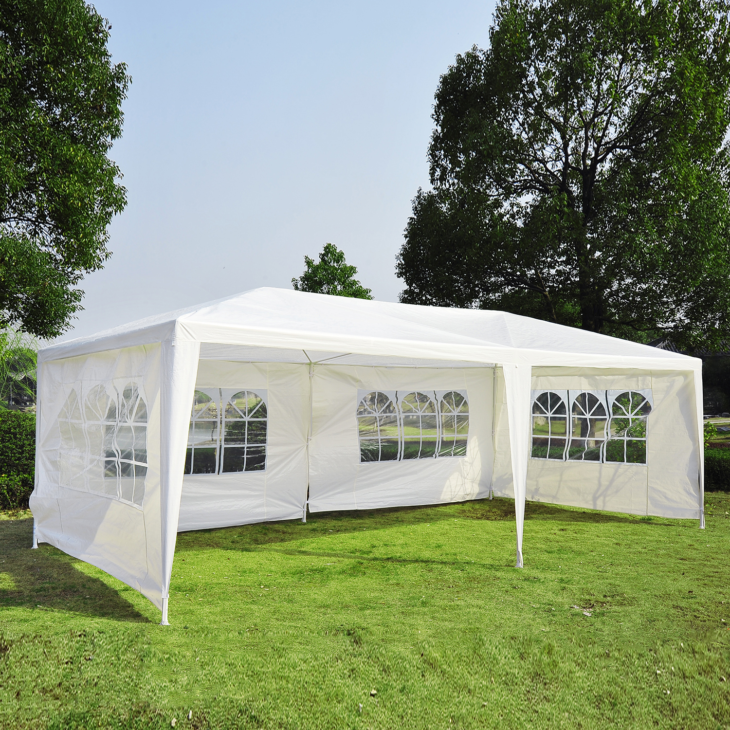Outsunny 10 X 20 Gazebo Canopy Party Tent W 4 Removable Window Side Walls White Walmart Com