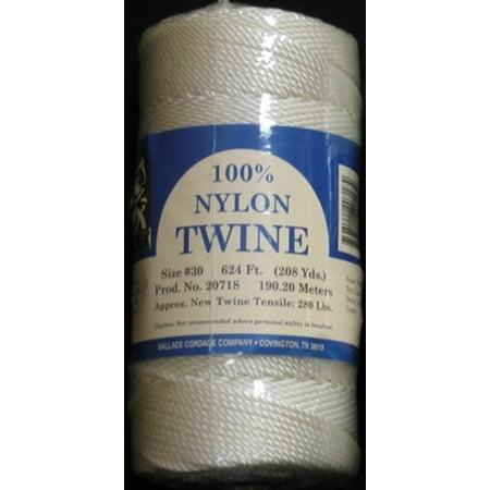 ST4-30 Wallace Cordage White Twisted Nylon Twine 1/4 lb Fishing Line - Size 30