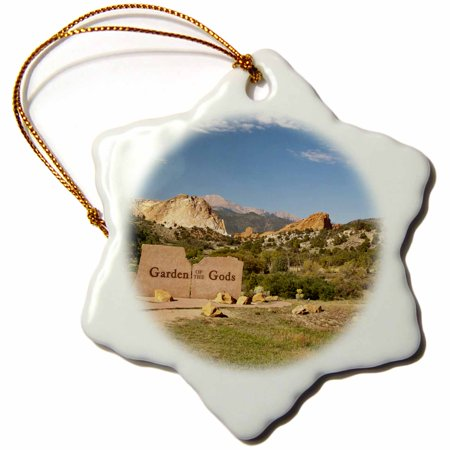 3dRose USA, Colorado Springs, Garden of the Gods Site - US06 PWA0008 - Patrick J. Wall, Snowflake Ornament, Porcelain, 3-inch - Halloween Party Colorado Springs