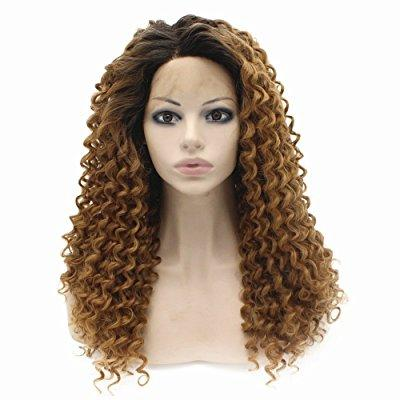 Long Curly Brown Root Blond Lace Front Synthetic Hair Wig...