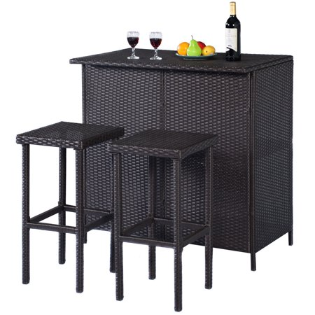 Outdoor Party Bar - Costway 3-Piece Wicker Outdoor Patio Bar Set with Table & 2 Stools, Brown