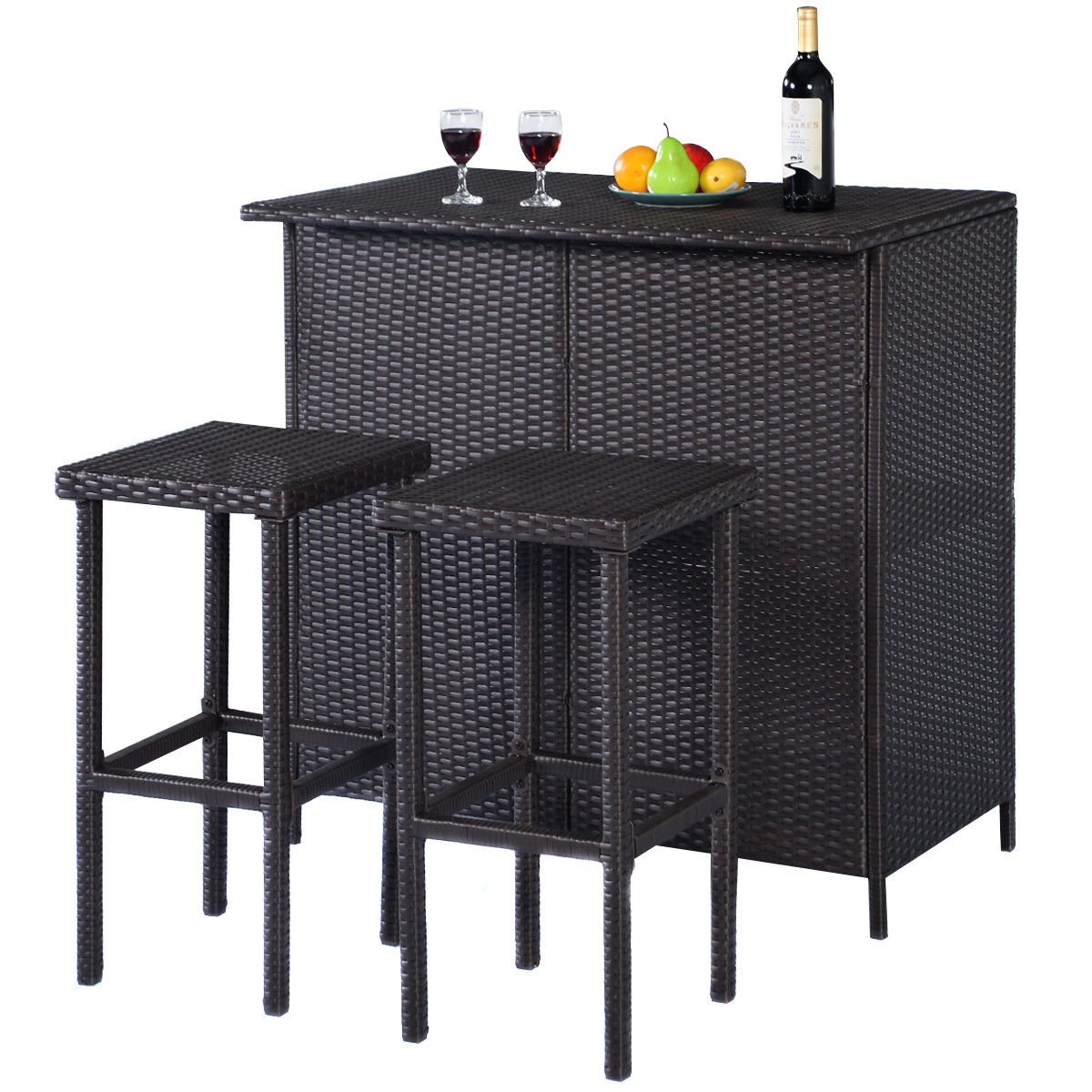 Costway 3-Piece Wicker Outdoor Patio Bar Set with Table & 2 Stools, Brown