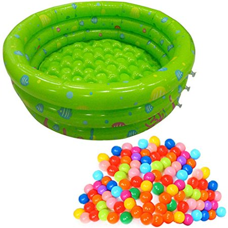 TrendBox 200 Ocean Ball + 1 Green 80cm Inflatable Round Swimming Pool Ball Pit For Baby Children Kids Outdoor Garden Parties