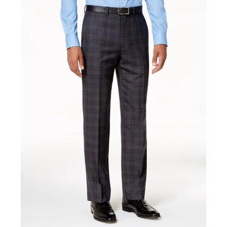 Blue Mens 32x32 Plaid Flat-Front Dress Pants 32