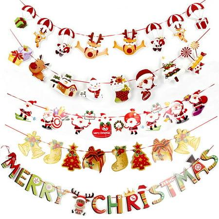 Moderna Christmas Wall Hanging Ornament Snowman Santa Claus Flag Banner Home Party Decor