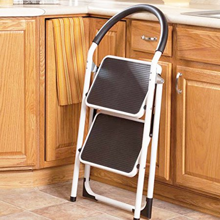 Prime Lavohome 330Lbs Upper Reach Reinforced Metal Folding Step Ladder Household Kitchen Stool Two Step Ladder Caraccident5 Cool Chair Designs And Ideas Caraccident5Info