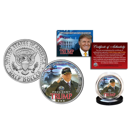 DONALD TRUMP on the USS GERALD R. FORD Naval Warship Kennedy Half Dollar US Coin