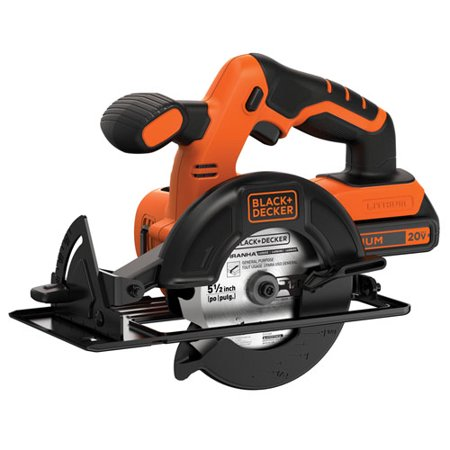 BLACK+DECKER 20-Volt Max Lithium-Ion Cordless 5-1/2-Inch Circular Saw, Battery Included, BDCCS20C