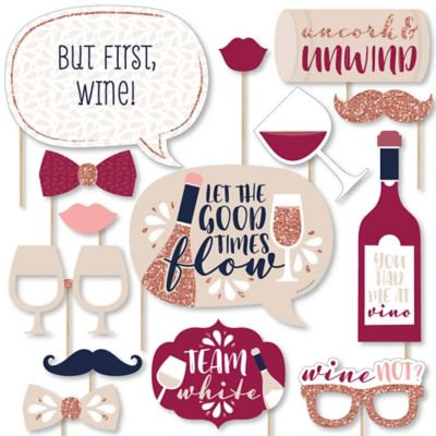 Tasting Party Supplies (But First, Wine - Wine Tasting Party Photo Booth Props Kit - 20)