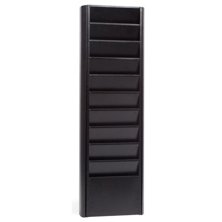 Literature Rack w/ Black Textured Finished Metal Magazine Holder – Catalog Display Features 10 Tiered Pockets -