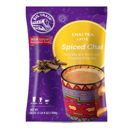 Spiced Chai Tea Latte 3 Lb (1 Count) Powdered Instant Chai Tea Latte Mix, Spiced Black Tea with Milk, For Home, Café, Coffee Shop, Restaurant Use Big Train - 56 Ounce