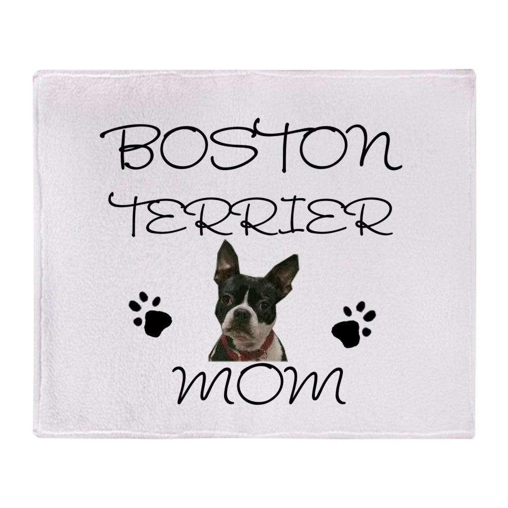 "CafePress Boston Terrier Mom Soft Fleece Throw Blanket, 50""x60"" Stadium Blanket by"