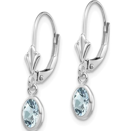 14k White Gold White 6x4mm Oval Aquamarine/March (4x23mm) Earrings - image 2 of 3