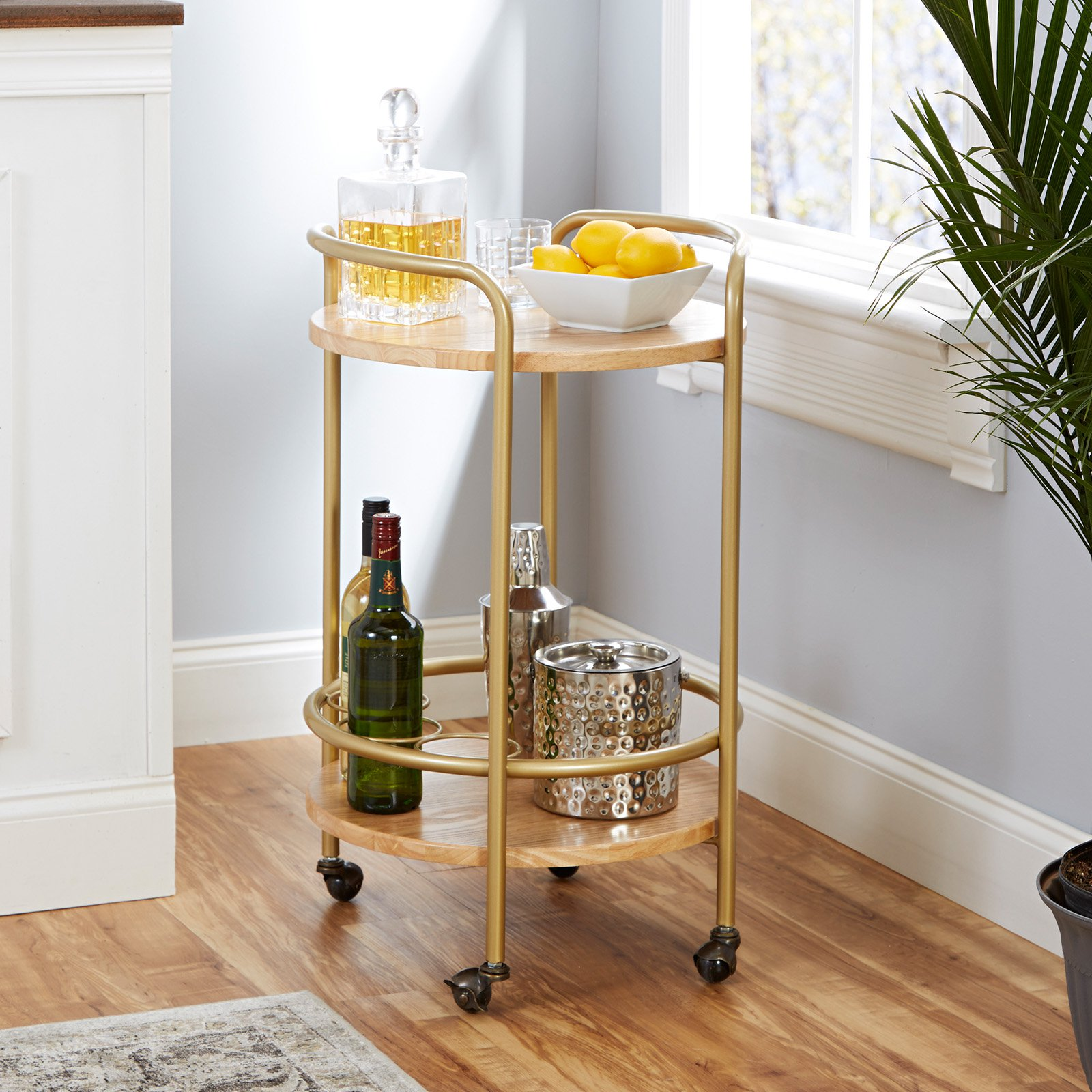 London Round Two-Tier Wood and Iron Bar Cart with Handles