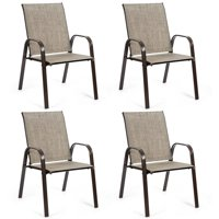 Gymax Set of 4 Patio Chairs Dining Chairs Garden Outdoor w/ Armrest Steel Frame