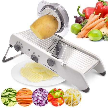 WALFRONT Vegetable Grater Mandoline Slicer, Stainless Steel Manual Cutter Julienne Slicer Professional Adjustable Kitchen Potato Cutter Food Slicer (Manual Food Slicer)