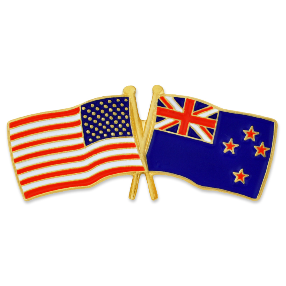 PinMart's USA and New Zealand Crossed Friendship Flag Enamel Lapel Pin