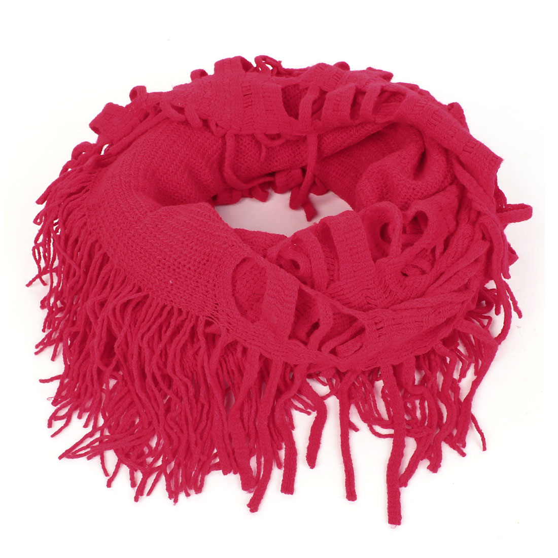 Lady Tassels Decorative Hollow Out Knitted Winter Warm Scarf Wrap Red