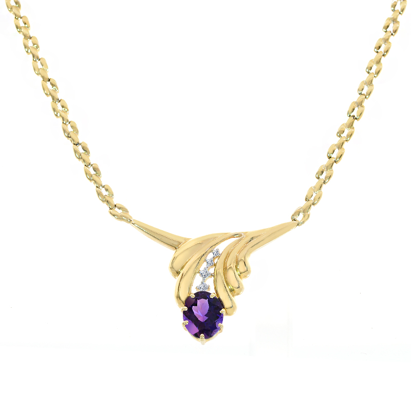 0.07 Carat Diamond and 3.00 Carat Amethyst Leaf 14K Yellow Gold Necklace by