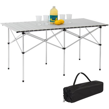 Coleman Camping Tables - Best Choice Products 55in Portable Roll-Up Aluminum Table for Camping, Outdoor Cooking, Picnics w/ Carrying Bag - Silver